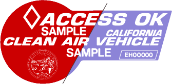 California HOV Carpool sticker sample - Red or Purple 2019