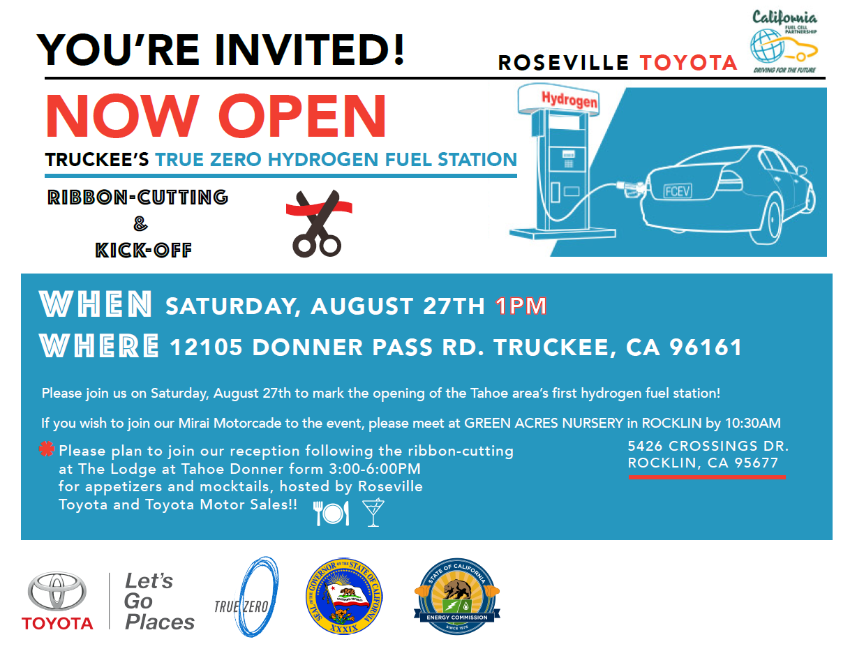 Lake Tahoe-Truckee hydrogen station ribbon cutting and celebration August 27, 2016